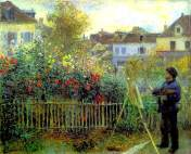 Monet Painting in his garden at argenteuil 1873